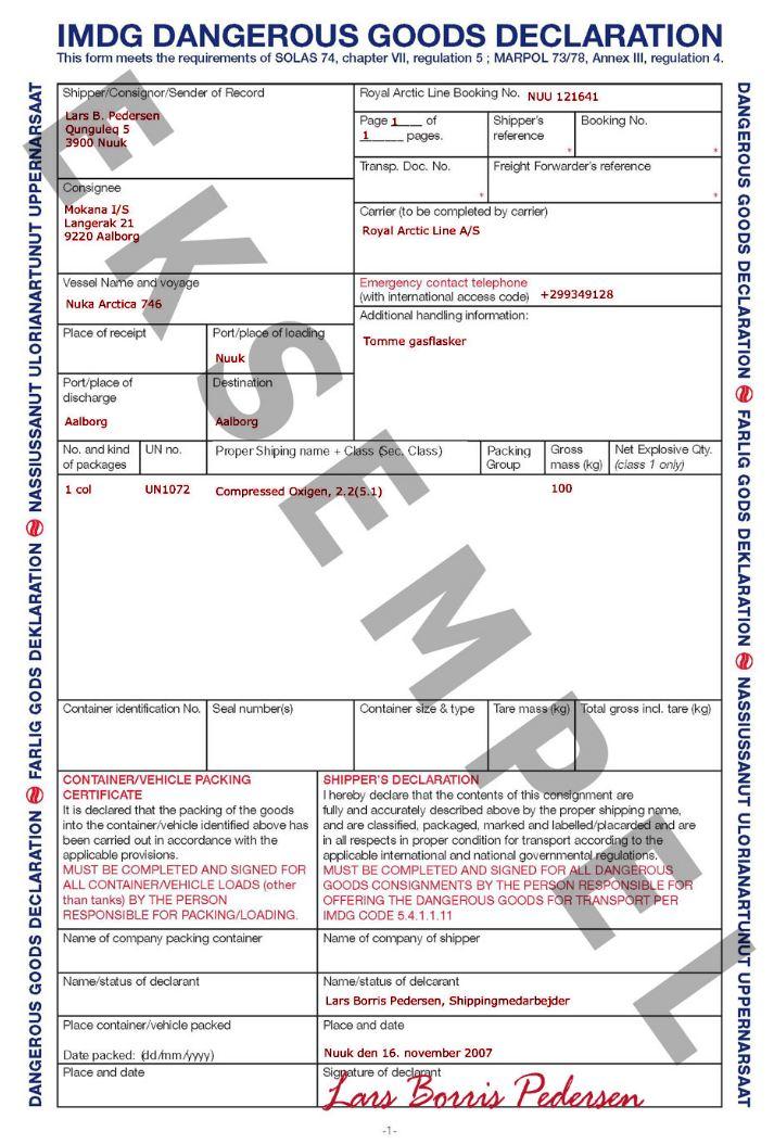 Fantastisk Mærkning og dokumentation - Royal Arctic Line LO44